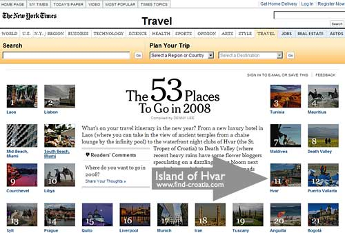 Hvar among 53 Places to Go in 2008 of New York Times