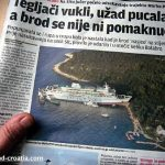 Ferry Marko Polo Stranded on the Island near Sibenik, Croatia