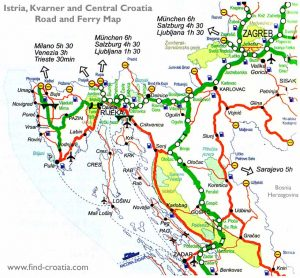 Istria, Kvarner and Central Croatia Road and Ferry Map