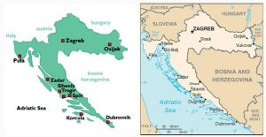 Simple map of Croatia with indication of main places and neighbouring coutries