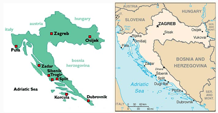 Simple Map Of Croatia With Indication Of Main Places And - Map of main