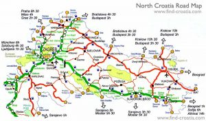 Slavonia and North Croatia Road Map