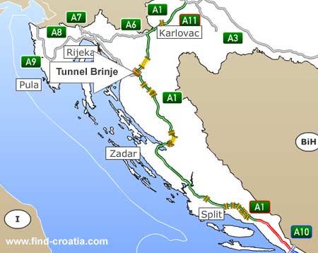 tunnel brinje location map