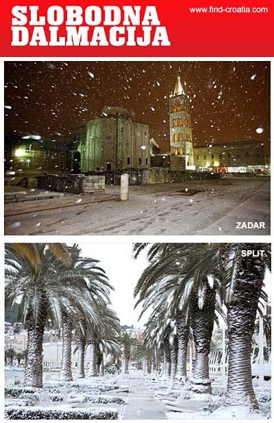 snow in dalmatia - Zadar and Split