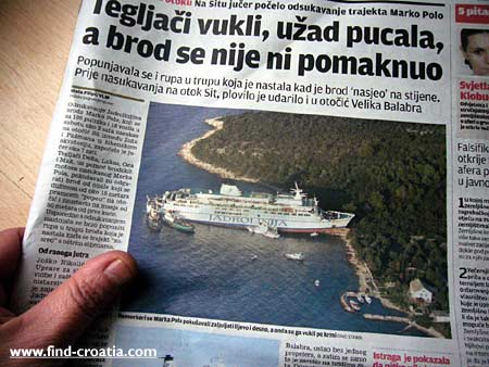 ferry marko polo stranded on croatian island