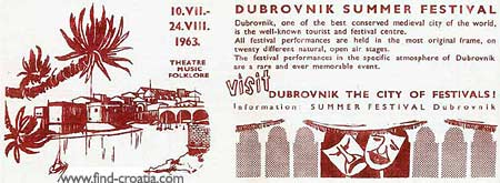 Dubrovnik summer festival advert from 1963