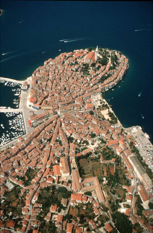 Rovinj viewed from the aeroplane
