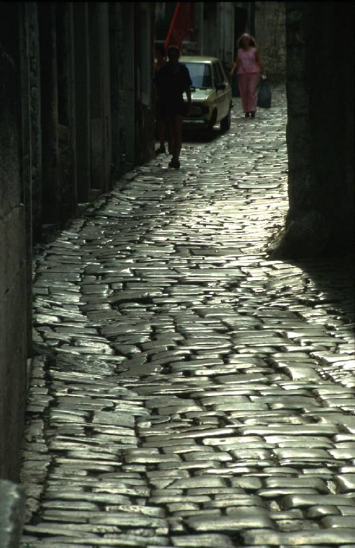 Cobbled street in Rovinj