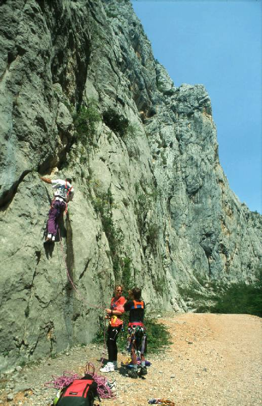 Climbers at the wall in Paklenica