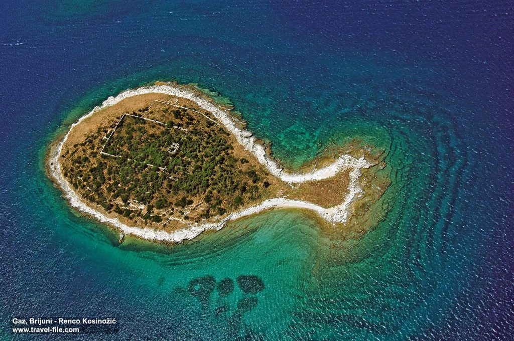 Gaz - a fish shaped island in the Brijuni archipelago