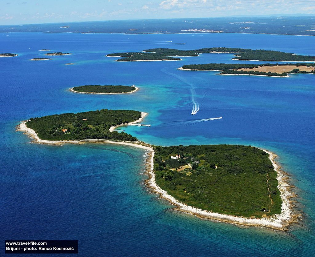 Panorama of Brijuni National Park, Brijuni Islands - Vanga island in the foreground