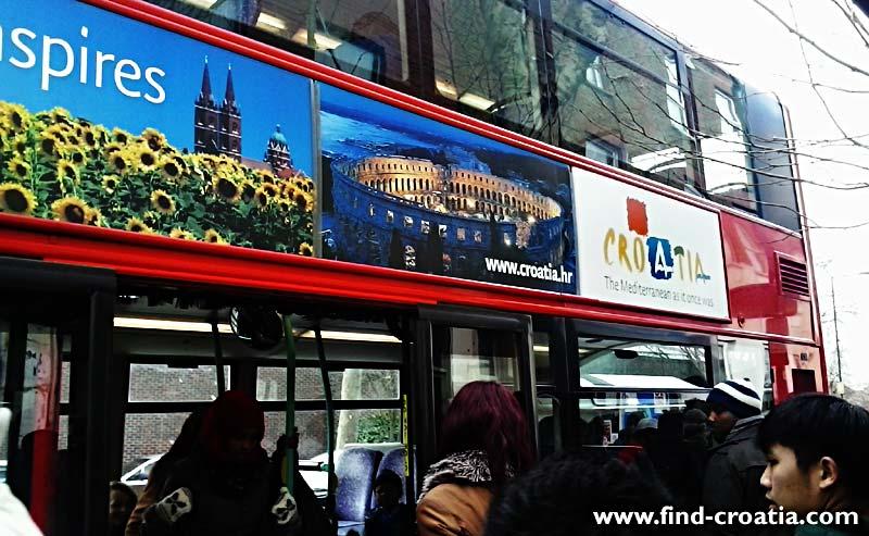 croatia ad at double decker london 2013