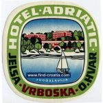Hotel Adriatic - Vrboska Hvar Luggage Label