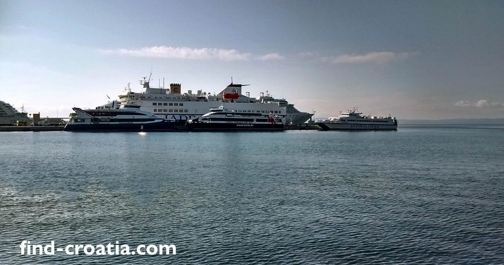 Ferries for Italy in Split ferry port, Croatia