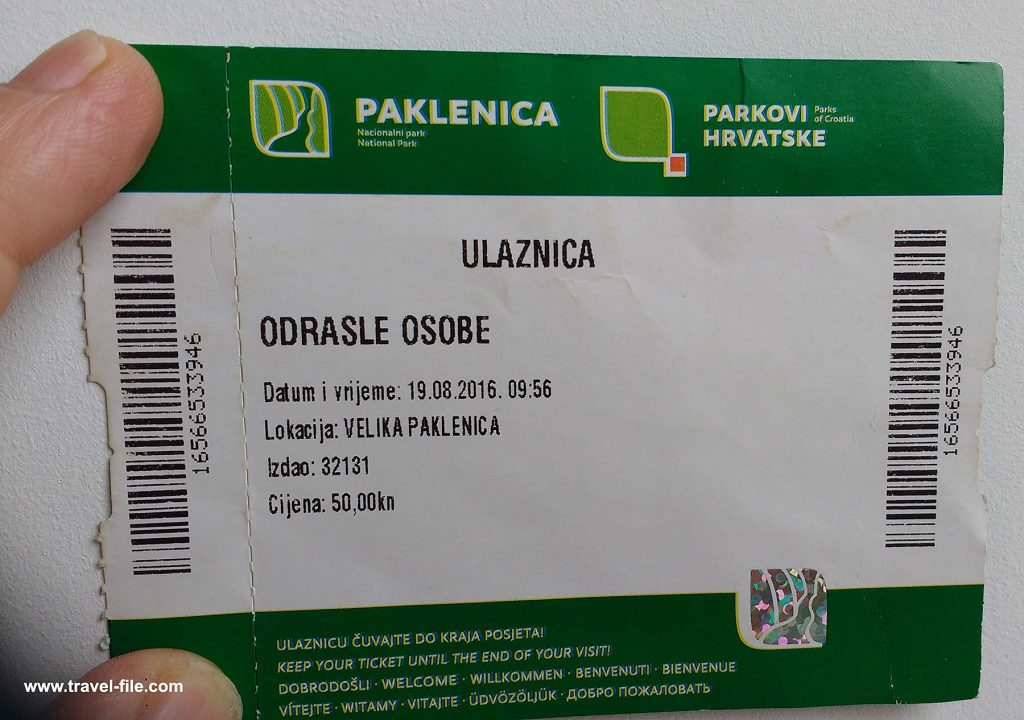 entry ticket for paklenica