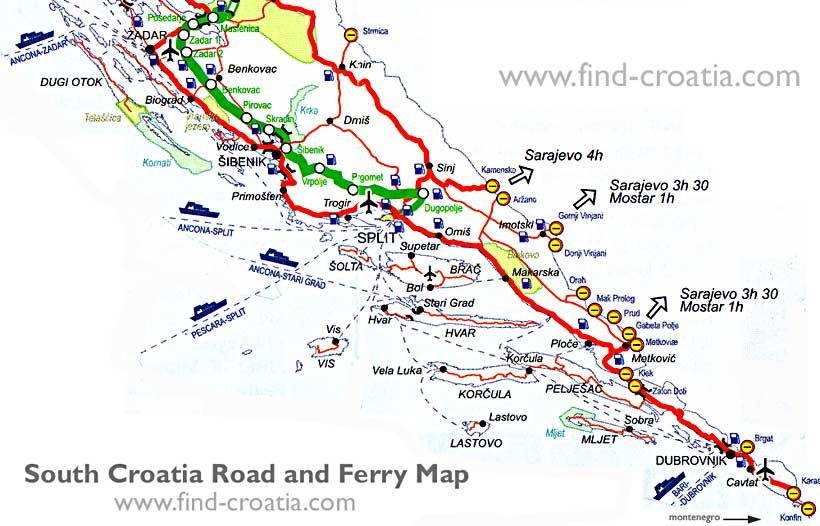Dalmatia Road and Ferry Map