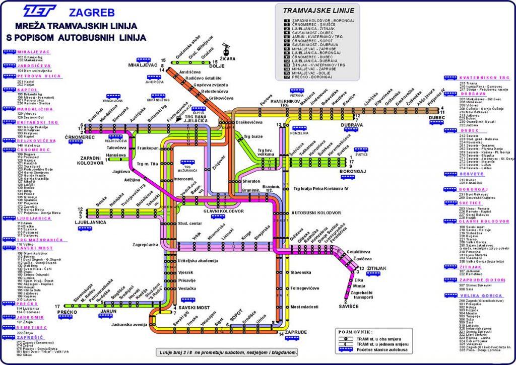 Map Of Zagreb Tram