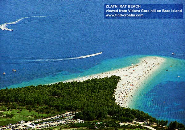 Zlatni Rat beach viewed from Vidova Gora hill on Brac island